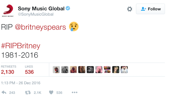 Example of social proof in a false tweet about Britney Spears