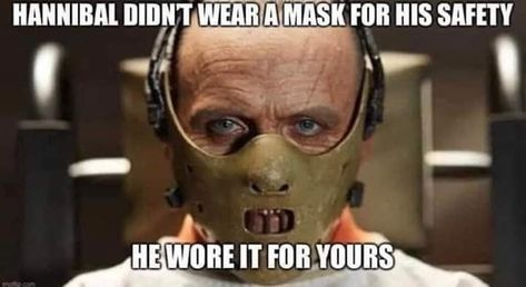 Hannibal Lecter in mask COVID-19 meme