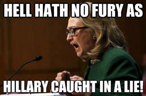 Image macro meme of Hillary Clinton disinformation
